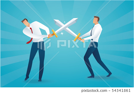 businessman fighting with swords business concept 54341861
