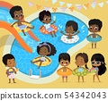 Pool party Kids. African-American children have fun in pool. Little Girl in Swimsuit Funny Summer 54342043