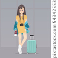 Woman with passport and luggage 54342553