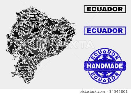 Handmade Composition of Ecuador Map and Grunge Seal 54342801