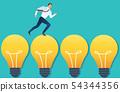 running businessman on light bulb idea concept 54344356