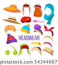 Multicultural And Season Headwear Hat Set Vector 54344667