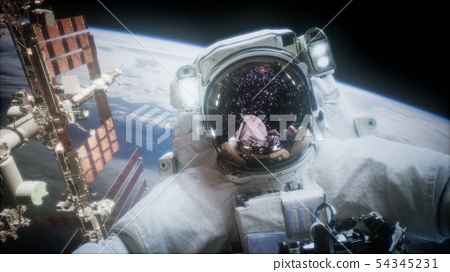 Astronaut at spacewalk. Elements of this image 54345231