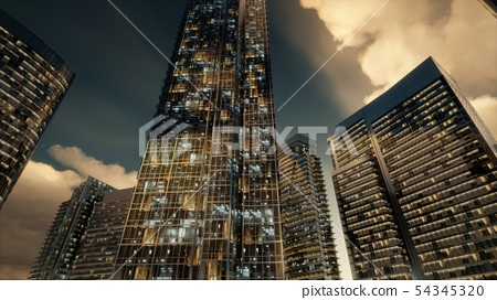 Skyscrapers or Modern Buildings in the City 54345320