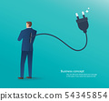 businessman standing with electrical plug on back 54345854