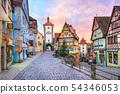Rothenburg ob der Tauber, Germany, on sunrise 54346053