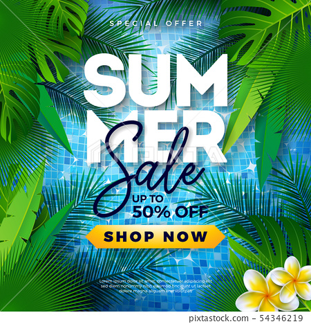 Summer Sale Design with Tropical Palm Leaves and Flower on Blue Background. Vector Special Offer 54346219