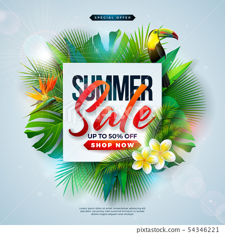 Summer Sale Design with Flower, Beach Holiday Elements and Exotic Leaves on Blue Background 54346221