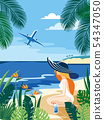 Summer tropical islands background. Vector illustration. 54347050