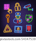 security neon icons 54347539