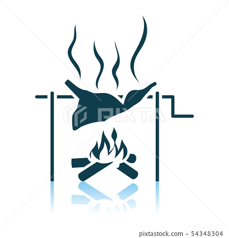 Roasting Meat On Fire Icon 54348304