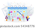 Tiny people near the huge calendar. Make a schedule of affairs for the month. 54348776