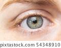 Beautiful green woman eye close up. Macro. 54348910