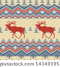 Christmas winter knitted woolen seamless pattern 54349395