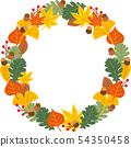 Acorn illustration of a fallen leaf wreath illustration 54350458