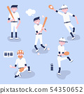 Set of baseball  cartoon players  54350652