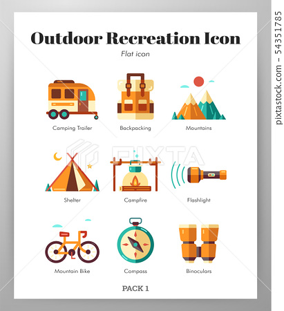 Outdoor recreation icons flat pack 54351785