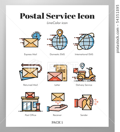 Postal service icons LineColor pack 54351895