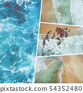 Collage of aerial vief of beach and blue ocean.. 54352480