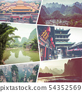 Collage of popular tourist destinations in China. 54352569