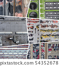 Collage of aerial view on industrial activity and 54352678