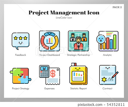 Project management icons LineColor pack 54352811