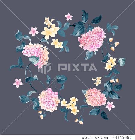 색채 丰富으로 수채화 화훼 믹스, 绣球 꽃, 邀请 卡 54355669