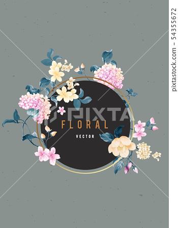 顏色豐富豐富的水彩花卉組合,琉球花,玫瑰 54355672
