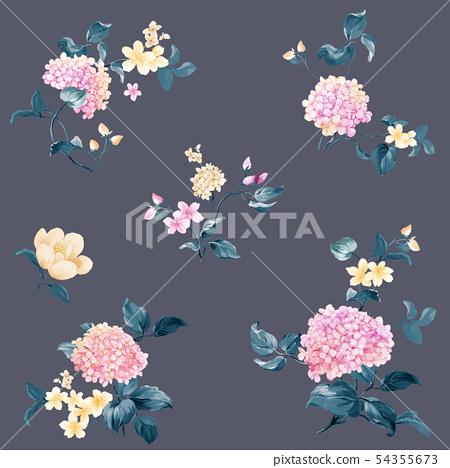 顏色豐富豐富的水彩花卉組合,琉球花,玫瑰 54355673