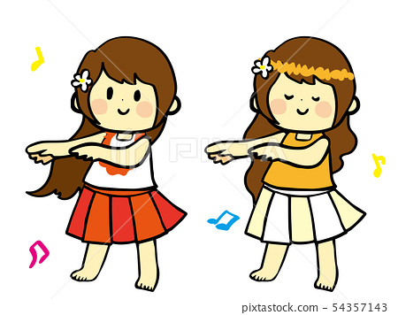 Hand-painted Flappy Hula Girl Dance 54357143