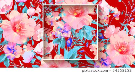優雅的水彩美麗的牡丹花和玫瑰花花卉插畫 54358152