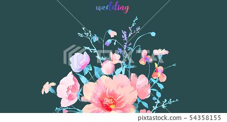 優雅的水彩美麗的牡丹花和玫瑰花花卉插畫 54358155