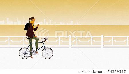 騎自行車的婦女 54359537