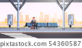 businessman sitting modern bus stop business man with suitcase waiting public transport on airport 54360587