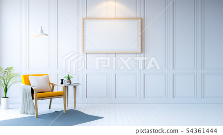 white room modern interior,yellow arm chair with 54361444