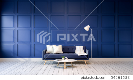 Minimalist  blue room modern interior 54361588