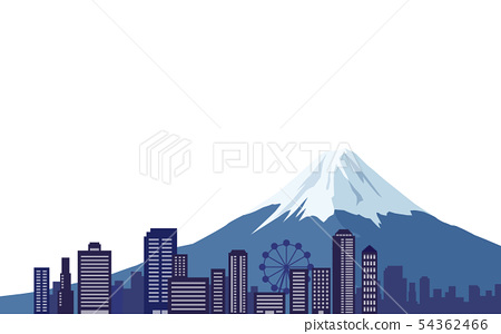 Mount Fuji and cityscape postcard size 54362466