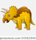 Cartoon Triceratops White Background 54362944
