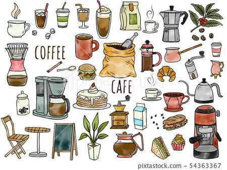 손으로 그린 일러스트 : 커피 상품 수채화 컬러 54363367