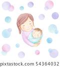 媽媽和嬰孩圓點背景水彩例證 54364032