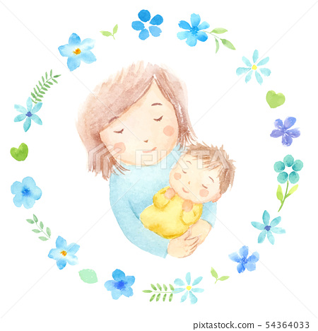 Mom and baby floral frame watercolor illustration 54364033