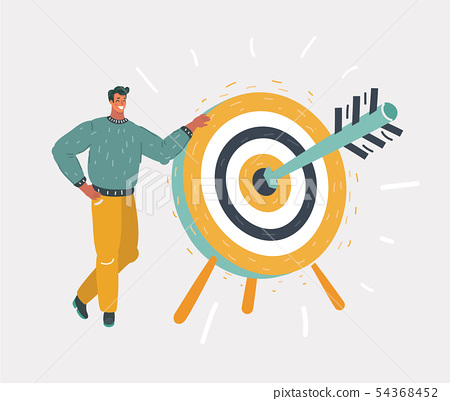 Man holding dart board with direct hit on target. 54368452
