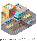 Modern train station building isometric vector 54368473