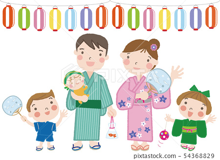Summer festival _29 (five people family, parent and child) illustration separation type 54368829