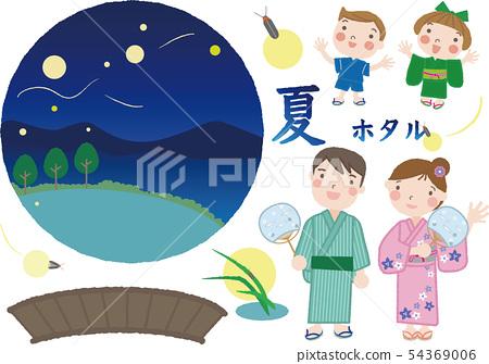 螢火蟲鑑賞套裝_ 36(家庭,插圖隔離型) 54369006