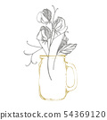 Sweet pea flowers drawing and sketch with line-art on white backgrounds. Floral pattern with flowers 54369120