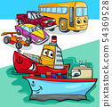 cars and ships group cartoon illustration 54369528