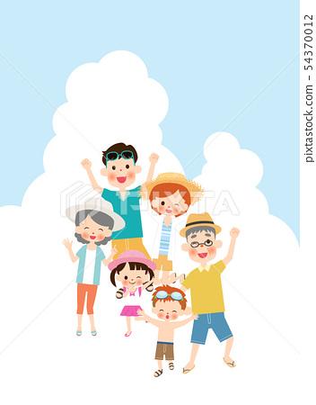 여름의 두 세대 가족 54370012
