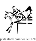 show jumping horse and rider black vector outline 54370178