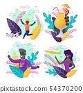 Afro-American People on Greeting Invitation Set 54370200